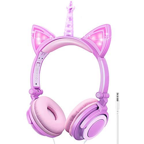 LOBKIN Einhorn Kopfhörer Kinder, Faltbares Kinder Kopfhörer mit LED Leuchtende Katzenohren, 3,5mm Audio Anschluss, Kabel Leicht-Kopfhörer für Kinder (Purple+Pink)