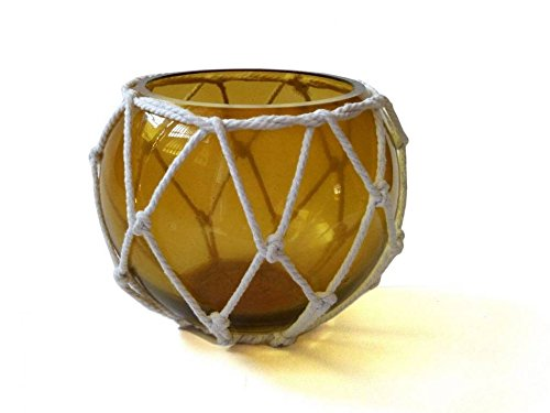 Handcrafted Model Ships Amber Japanese Glass Fishing Float Bowl with Decorative White Fish Netting - Glass Amber Model