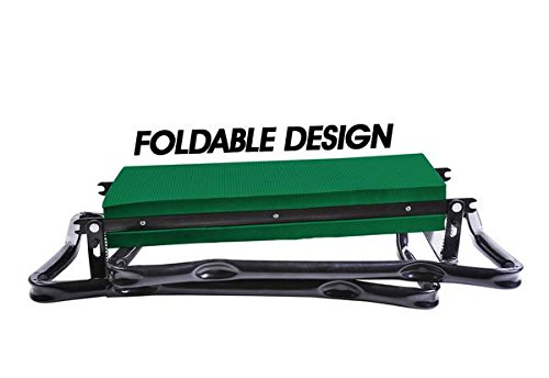 Heavy Duty Steel and Soft EVA Pads Extra Wide Portable Garden Kneeler Stool Cushion Seat with Maximum Load Up to 330.7 Lbs Black and Green Master Gardener