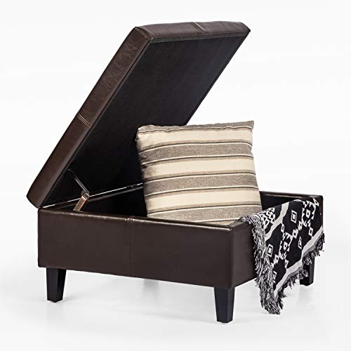 Adeco Faux Leather Storage Ottoman with Flip Top Square Ottoman at 15 Inches Height Brown