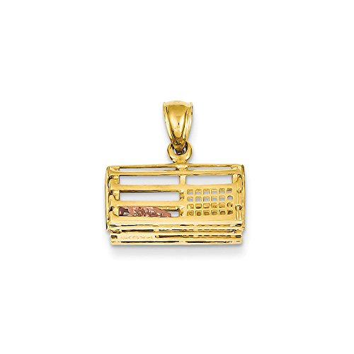 - 14K Rhodium plated Yellow Gold Two-tone 3-Dimensional Lobster Trap Pendant