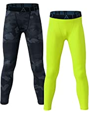 ATHLIO Boy's (Pack of 1 or 2) Cool Dry Compression Pants Active Sports Baselayer