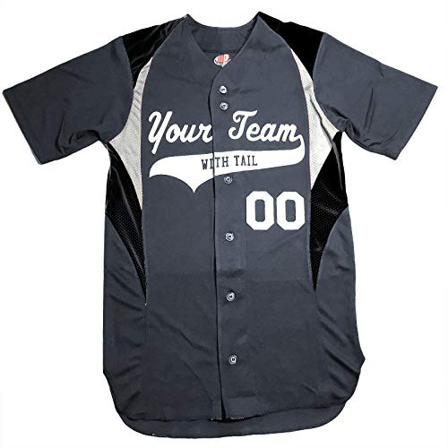 3 Color Customized Baseball Jersey Adult X-Large in Graphite and White