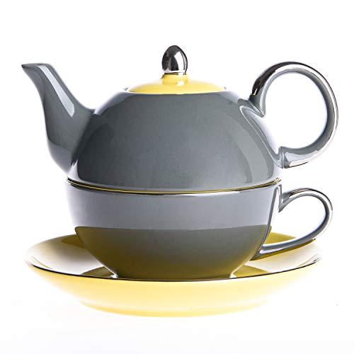 (ARTVIGOR Porcelain Tea Set for One Teapot 14 oz and Cup 8.6 oz with Saucer Stackable Single Serve 3-Piece, Grey)