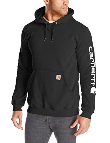 Carhartt Men's Signature Sleeve Logo Midweight Sweatshirt Hooded,Black,Large (Hoodie Sweatshirt People Mens)