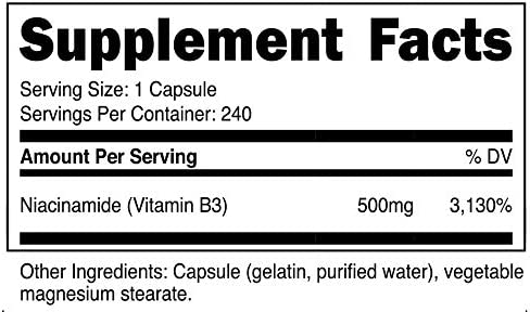 Nutricost Niacinamide Vitamin B3 500mg, 240 Capsules 3 Bottles