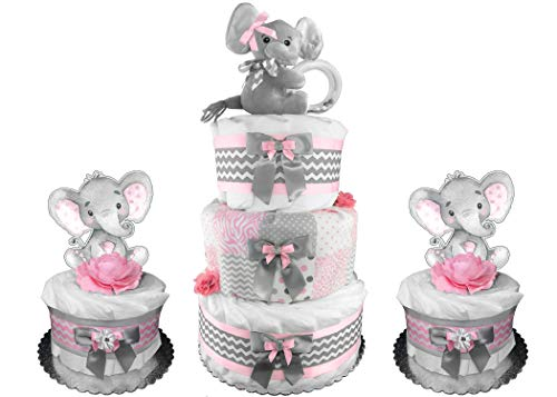 Set of (3) Elephant Diaper Cakes - Girl Baby Shower Gift - Pink and Gray -