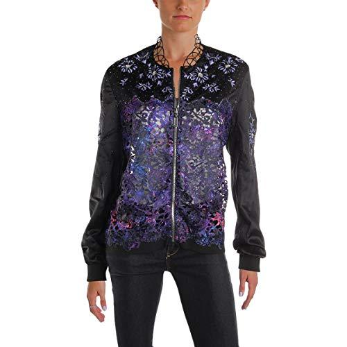 Elie Tahari Womens Brandy Fall Silk Bomber Jacket Black M - Tahari Silk Suit
