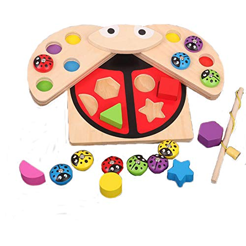 HiKid Toy Park Ponny Ladybird Shape Sorter Kids Wooden Magnetic Fishing Game with Colors, Shapes Learning, Ideal for 1-Year-Old Children