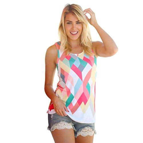 Bolayu Women Summer Loose Geometry Printing Tank Tops Sleeveless Vest Blouse T-Shirt (L)