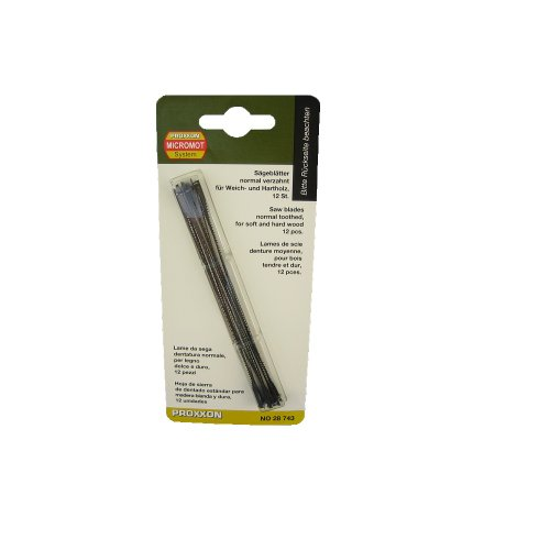 PROXXON 28743 Standard Feinschnitt Sägeblätter mit Querstift normal verzahnt 12 Stück Laubsägeblätter für dünne Materialien, Weich- und Hartholz sowie Kunststoffe