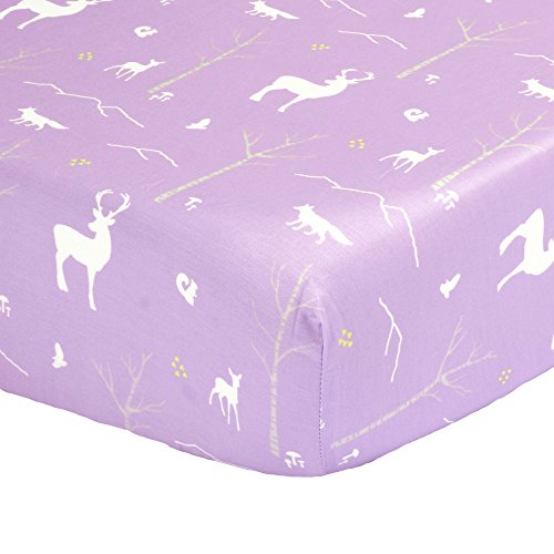 Purple Woodland Print Fitted Crib Sheet - 100% Cotton Baby Girl Forest Animal Theme Nursery and Toddler Bedding ()