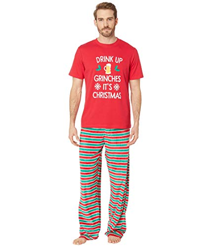 Karen Neuburger Women's Family Matching Christmas Holiday Pajama Sets, Candy Cane Stripe Red and Green Combo Pj-Drink Up Grinches, Dad M]()