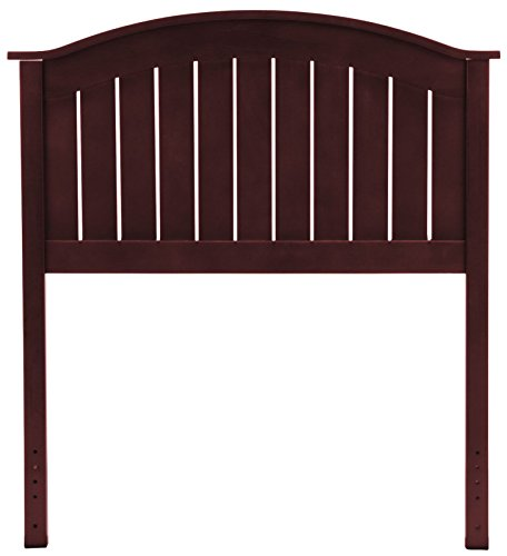 Maple Finish Twin Headboard - Leggett & Platt Finley Wood Headboard Panel with Curved Top Rail and Slatted Grill Design, Merlot Finish, Twin