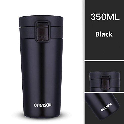 Phantomx Vacuum Flask Stainless Steel Thermos Tumbler Travel Mug Coffee Mug 12oz (black)