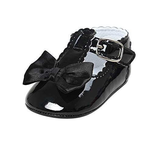Infant Baby Girls Bowknot Rubber Sole Mary Jane Toddler Sneakers Prewalker Wedding Dress Shoes Black, 3-6 Months