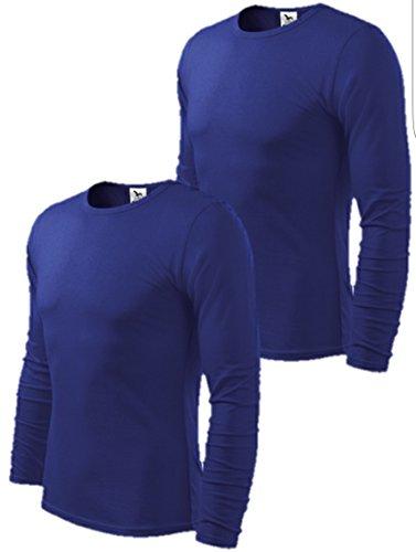 2er pack Herren Langarmshirt Slim Fit (XX-Large, königsblau)