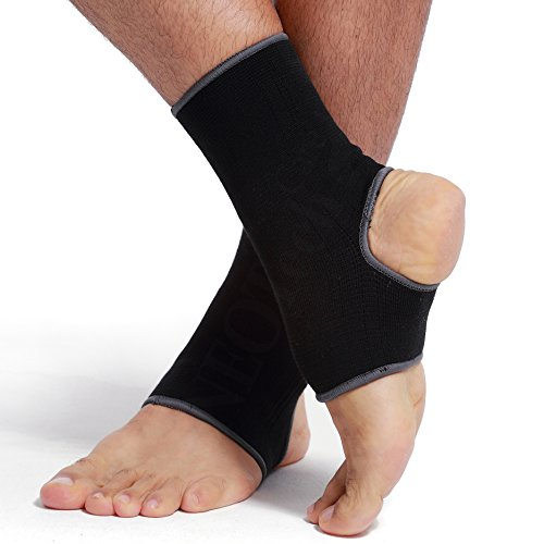 (Neotech Care Ankle Support Sleeve (1 Unit) - Open Heel, Light, Elastic & Breathable Knitted Fabric - Medium Compression - for Men, Women, Kids - Right or Left Foot - Black Color (Size M))