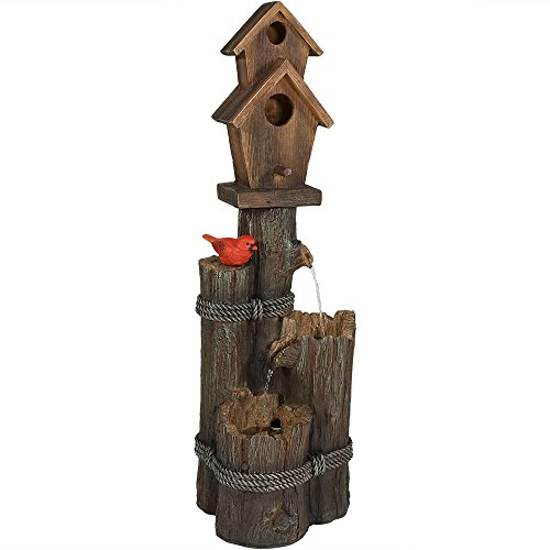 Cheap Sunnydaze 2 Story Birdhouse with Cardinal Outdoor Water Fountain, 34 Inch Tall, Includes Electric Pump