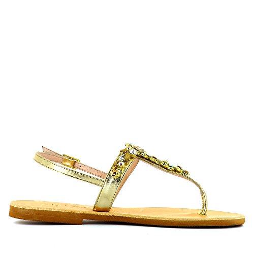 Shoes Piel Sandalias Para Mujer Dorado Vestir Evita De Greta OPqxq7dS