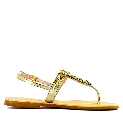 dorado Evita de para vestir Piel Greta mujer Shoes de Sandalias UCxwrqpUz