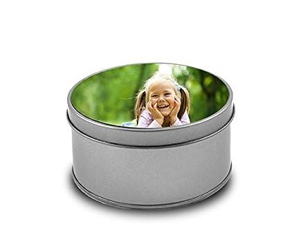 Cajas metálica personalizada con fotos y texto   Forma redonda   Diseña esta caja metálica con