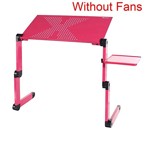 Computer Desk Portable Adjustable Foldable Laptop Notebook Lap PC Folding Desk Table Vented Stand Bed Tray N20 (Color Pink)