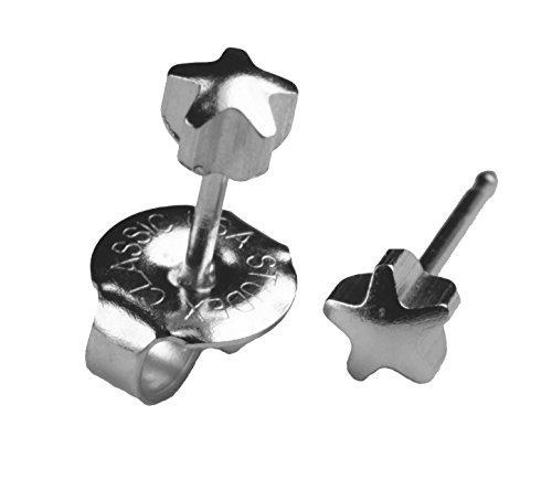 Ear Piercing Earrings Silver 4mm Star Studs Studex System 75 Hypoallergenic