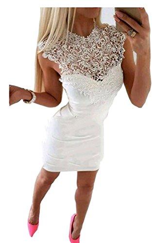 Abito Sexy Breve Fuori Scava Pizzo Bodycon donne Coolred Mini Sleeveless Bianco Elegante IwSq8vnZ7