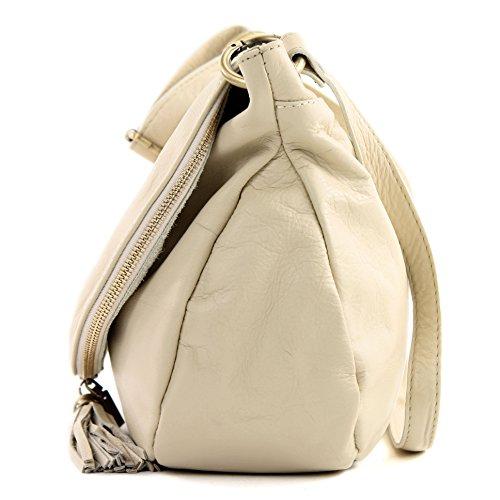 modamoda. de T40Bolso para mujer bolsa de hombro Messenger Bag (Piel de napa Bolso Mediano y Grande - Off White - Elfenbein