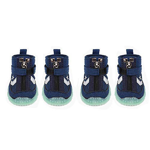 LEERAIN Dog Shoes Pet Boots Booties Anti-Slip Night Glow Paw Protector Breathable Foldable Shoe Comfortable Set of 4,Blue,XL ()