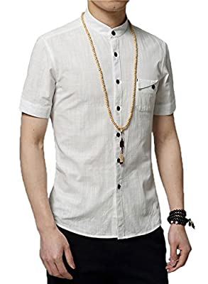 Plaid&Plain Men's Slim Fit Short Sleeve Banded Collar Solid Linen Shirts