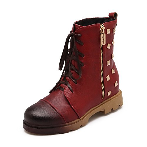 AllhqFashion Womens Solid Kitten Heels Round Closed Toe Artificial Cow Leather Zipper Boots Red BqC0t
