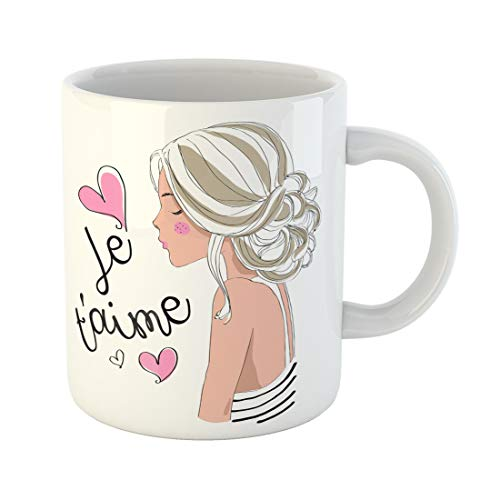Emvency Funny Coffee Mug Pink Adolescent Beautiful Cute Girl Je Taime I Love You Adorable Blonde Clip Day 11 Oz Ceramic Coffee Mug Tea Cup Best Gift Or -