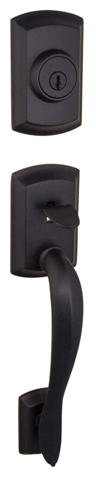 Kwikset 800AVH Lip 514 SMT Avalon Single Cylinder Handleset, Exterior Only, Iron Black