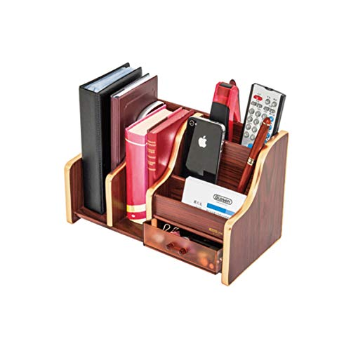 TONGBOSHI Wooden Office Pen Holder Storage Box, Desktop Remote Control Book Standing Finishing Drawer Multi-Function File Creative Decoration,
