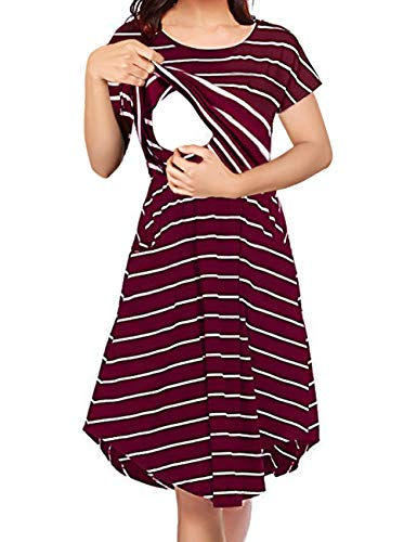 Larenba Striped Maternity Nursing Dress, Womens Baggy Cozy Light Weight Breathable Cotton Breastfeeding Outfit Slight Feminine Loose Style Pretty Tunic Dress with Pockets (Red, Large)