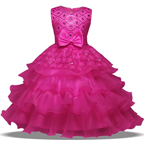 Oukaiyi Girl Ruffles Vintage Embroidered Sequins Flower Wedding Dress (Hot Pink,5-6Y)