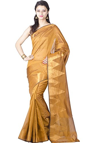 India Saree (Chandrakala Women's Faux Banarasi Silk Saree Free Size Gold)