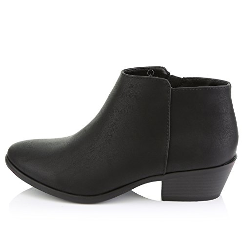 Cowboy Heel Women's Black Western DailyShoes Stylish Ankle Boots Comfortable Toe Booties Pu Pointed Chunky xRYwqw