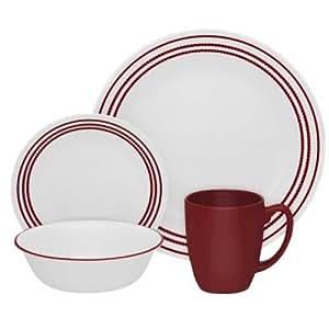 Corelle -  Juego de vajilla de 16 piezas, vidrio Vitrelle resistente a las roturas y las desportilladuras, modelo Ruby Red, servicio para 4 personas, color rojo