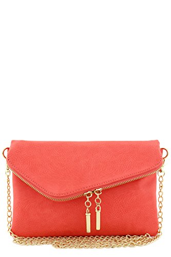Clutch Purse Handbag Bag - Envelope Wristlet Clutch Crossbody Bag with Chain Strap Coral