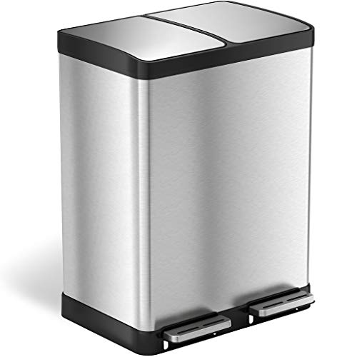 iTouchless 16 Gallon Recycle Bin and Trash Can, Stainless Steel, Plastic Removable Inner Buckets with Handles, Perfect for Kitchen, Office, and Home