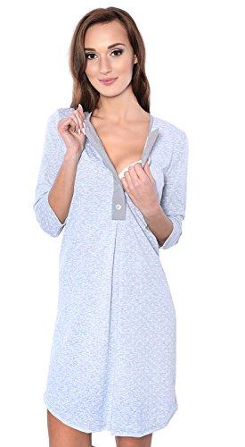 Grigio 100 2 in al Premaman Mija 1 notte allattamento da Camicia cotone seno Menta 4016 Allattamento AUHwcFY6TY