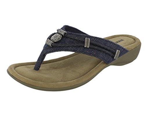 Minnetonka Women's Denim Silverthorne Thong Sandals Blue 8 M US