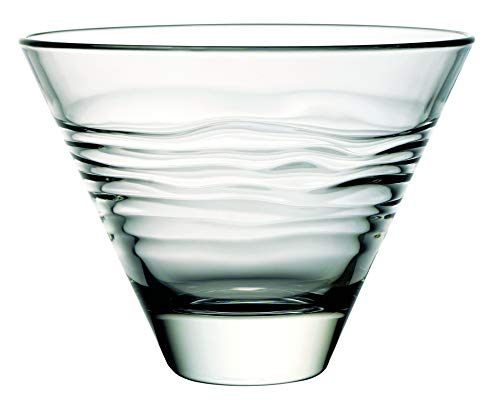 Glass - Martini - Stemless Cocktail Glasses - Set of 6-11 oz. - By Barski - European Quality - Stemless Cocktail - Martinis - with Horizontal Wavy Lines - 11 -