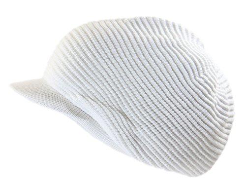 RW Rasta 100% Cotton Knitted Slouchy Beanie XL (White/Brim)