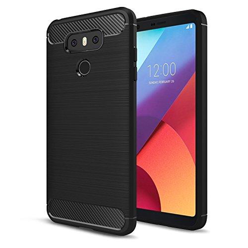 LG G6 Case,LG G6 Plus Case, AnoKe Slim Carbon Fiber Shock Absorption Soft TPU Drawing Anti-fingerprint Phone case For LG VS988 / LG LS993 / LG G6 HWLS Black