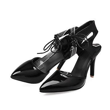LvYuan Mujer-Tacón Stiletto-Innovador Zapatos del club-Zuecos y pantuflas-Oficina y Trabajo Vestido Fiesta y Noche-Cuero Patentado-Negro Rojo Red