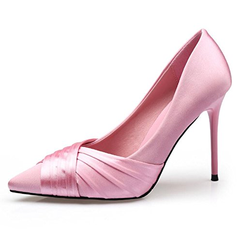 ZXMXY Zapatos de Mujer Zapatos de Boda de Satén Rosa Tip Tacones de Aguja Zapatos de Club de Fiesta Simple Fiesta (Rosa Negro) Sandalias al Aire Libre Rosado